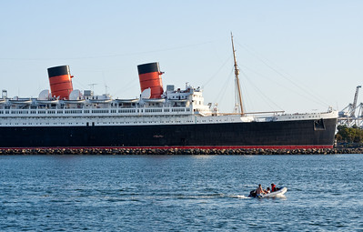 In Long Beach Harbor: the Queen Mary and another, slightly smaller, boat.