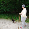 Mom and Pippa the foster dog on the Kendall Ledges trail