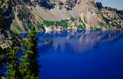 Phantom Ship Crater Lake, Oregon Post-processing note:  Pictures take with a circular polarizer.  Color and saturation were not adjusted.   It's really blue!