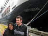 Marisol & Matt in front of one of the huge cruise ships that dominate Juneau