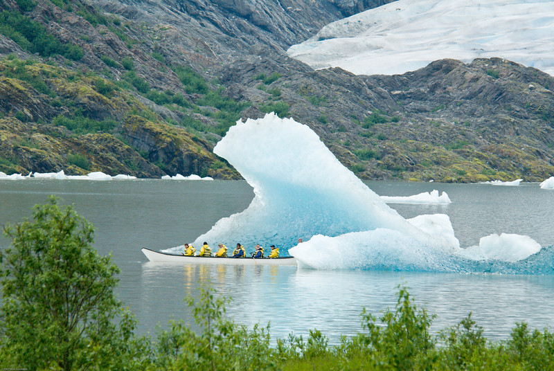 Mendenhall glacier berg and canoeists..