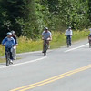 A group of bikers on tour in Juneau, Alaska.