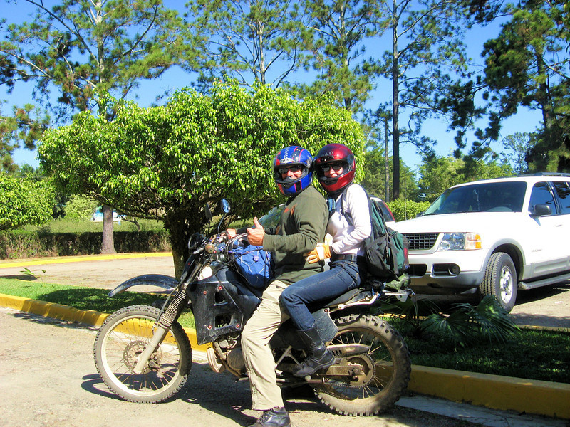 Tom and Heidi on a two-up adventure ride