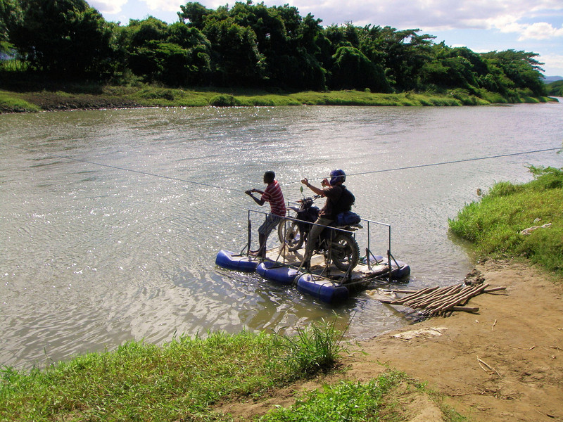 Water crossing in rural Dominican Republic