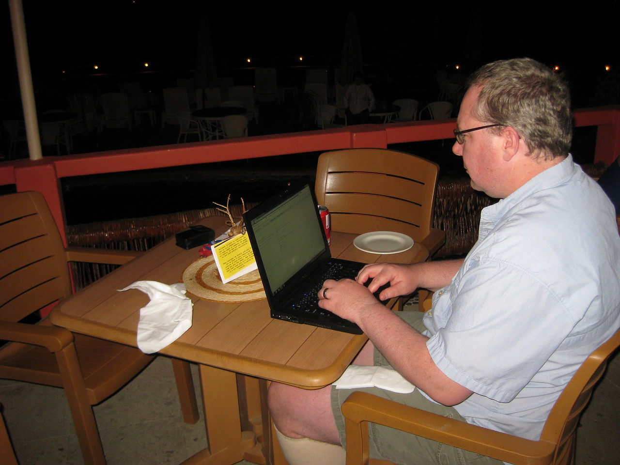 Checking emails back at our hotel.