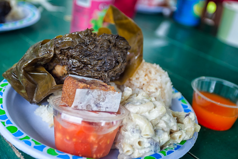 "LOCAL ""FARE"" FROM A FOOD TRUCK:  CHICKEN LAULAU, MACARONI SALAD AND RICE"