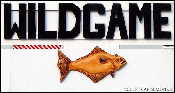 """""""WILDGAME"""", Halibut carving, Ketchikan, Alaska, USA."""