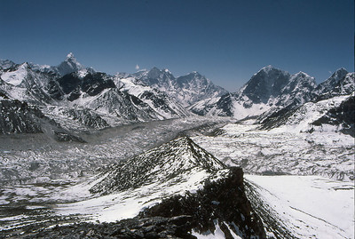 Looking south from the summit of Kala Patar, down the Khumbu Glacier, with Ama Dablam prominent to the left