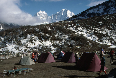 Typical trekkers camp, in the Gokyo valley. The mountains in the distance are; Tramserku (right) and Kantega