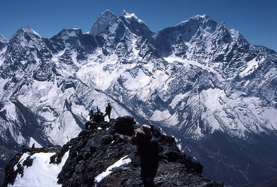 On the summit ridge of Taweche Towers, with Kantega (left) and Tramserku across the Khumbu Valley to the south