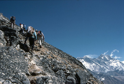 Scrambling on Taweche Towers, with the Everest group behind