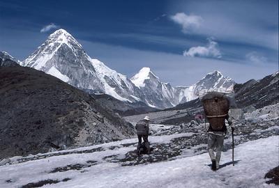 Trekking alongside the Khumbu Glacier, approaching Lobuche