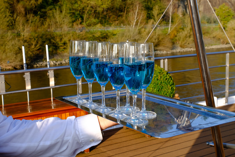 "California on the Danube. Blanc de Bleu Cuvée Mousseux (""white of blue sparkling cuvée) is a sparkling white wine made of Chardonnay grapes and given its distinctive color by a hint of blueberries."