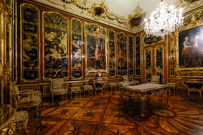 The Vieux-Laque Room was remodeled by Empress Maria Theresa following the sudden death in 1765 of her husband, Franz Stephan, who as monarch was known as Francis I. The room, with its black lacquer panels from Peking, was extravagantly expensive. Of note is the posthumous portrait of Franz Stephan commissioned specifically for this room. It was painted in Rome in 1769 by Italian artist Pompeo Batoni (1708-1787).