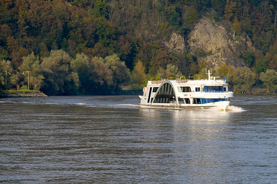 Pleasure tourism is a big industry along the Danube. This ship takes passengers on round-trip dinner cruises along the river.