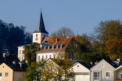 "Nearly every European city ""skyline"" is dotted with church steeples, such as this one in the ""new"" part of Passau."
