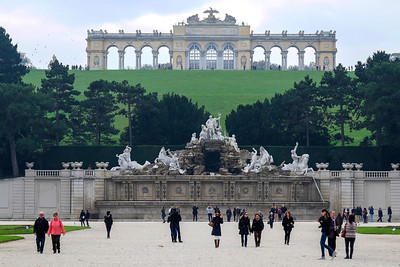 Maria Theresa's last project at Schönbrunn was the laying out of the gardens under the supervision of court architect Johann Ferdinand Hetzendorf von Hohenberg. It was he who gave the gardens their architectural features, including the Gloriette seen here. The Gloriette (which is defined as a building in a garden that is elevated relative to its surroundings) was used as a dining hall and festival hall as well as a breakfast room for emperor Franz Joseph I. The dining hall, which was used up until the end of the monarchy, today has a café in it, and on the roof an observation platform overlooks Vienna. The Gloriette was destroyed during World War II but was quickly restored to its original form in 1947 and again restored in 1995.