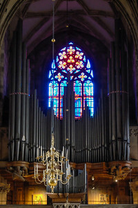 Looking northwest, toward the entrance of St. Stephen's Cathedral, one sees the pipe case for one of the five organs in the church. This one was built to replace the instrument that was lost to fire as a result of wartime looters in the closing days of World War II.