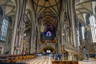 Looking northwest, toward the entrance of St. Stephen's Cathedral, one sees the pipe case for one of the five organs in the church. This one was built to replace the instrument that was lost to fire caused by wartime looters in the closing days of World War II.