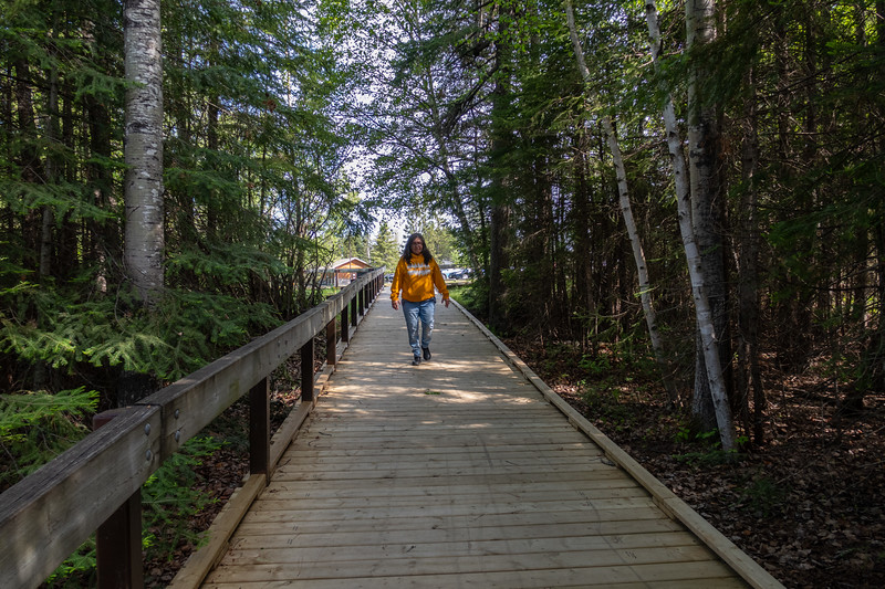 Denise Lantz on walkway at Kakabeka Falls 2019 June 9