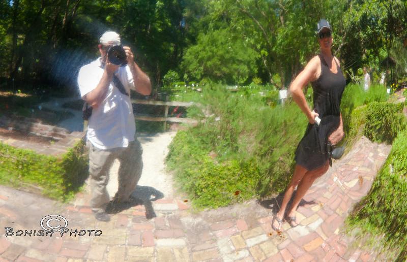 Gazing Ball Reflection of Cindy and I - Kanapaha Botanical Gardens, Gainesville Florida - Photo by Pat Bonish