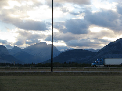 Evening at Stoney Nakoda Resort east of Calgary looking west.