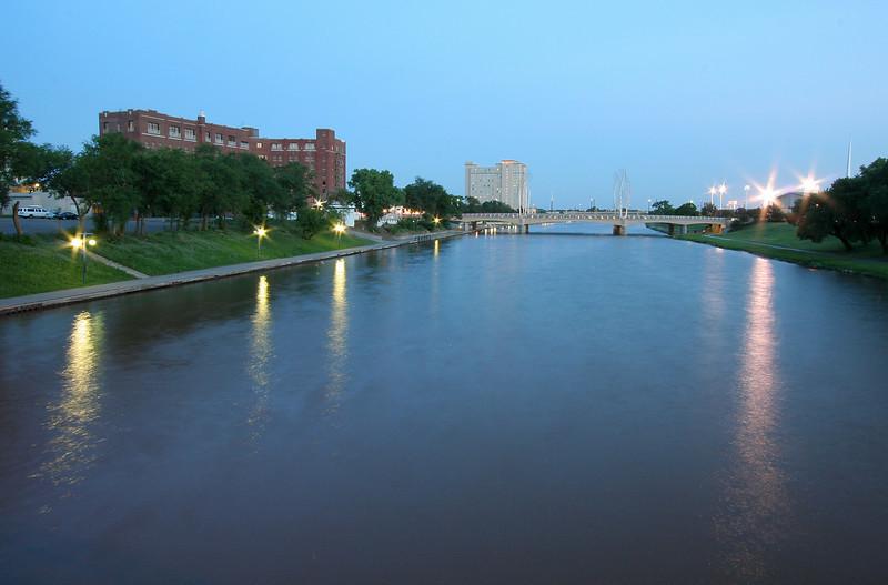 Arkansas River at twilight, Wichita, Kansas.