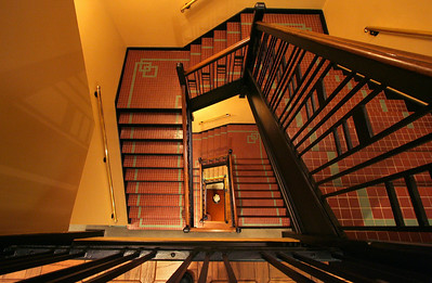 Staircase inside the Wichita Sedgwick County Historical Museum, Wichita, Kansas.