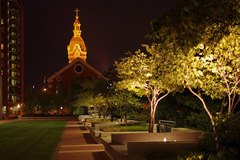 Golden dome of the Cathedral of the Immaculate Conception, night view. Kansas City, Missouri.