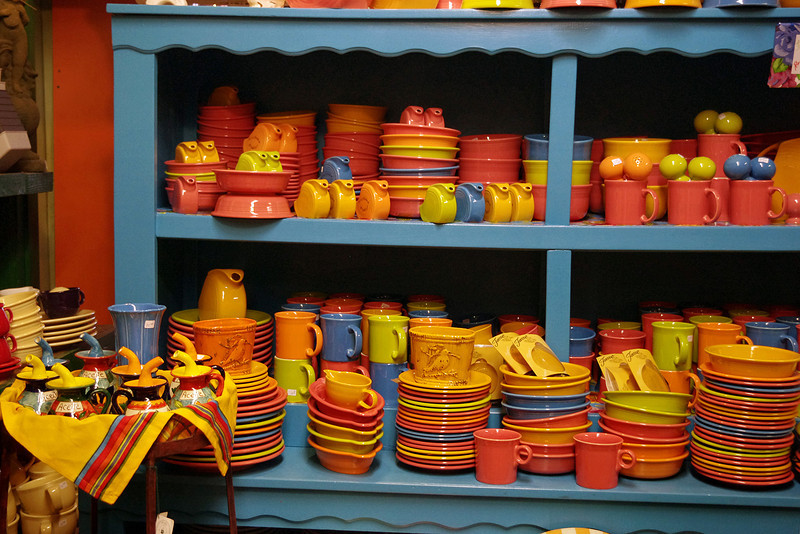 Fiestaware display at Pryde's - a retailer specializing in kitchen and home decor items in Old Westport, Kansas City, Missouri.