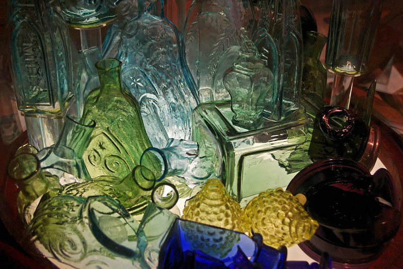 Glass and shard salvaged from the Steamboat Arabia.