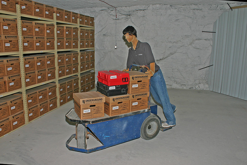 Simulated data storage in the Underground Vaults and Storage area.