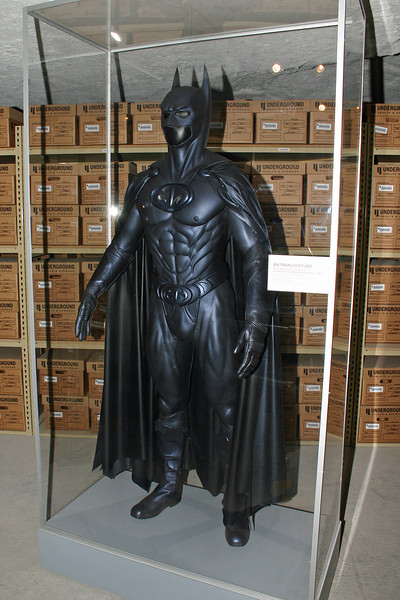 "Batman costume worn by George Clooney in the movie ""Batman and Robin."""
