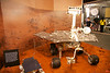 This is a model of the Spirit rover that landed on Mars in 2004. It was the second Mars rover (after the much smaller Sojourner, which is visible on the bottom left). It is smaller than the current nuclear-powered Curiosity Rover that landed on Mars in 2012.<br /> _MG_7424