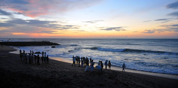 People come to see the sunrise at Kanyakumari, South India.