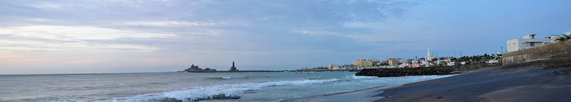 Panoramic image. Swami Vivekananda Rock at Kanyakumari, South India just before sunrise.