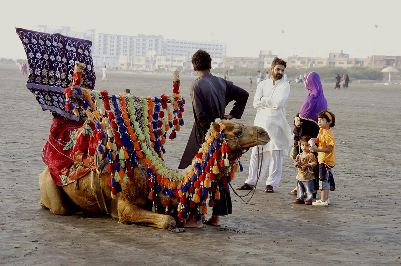 Camel rides for the whole family, Karachi, Pakistan<br /> scenes of daily life in markets and bazaars in Karachi<br /> (Credit Image: © Chris Kralik/KEYSTONE Press)