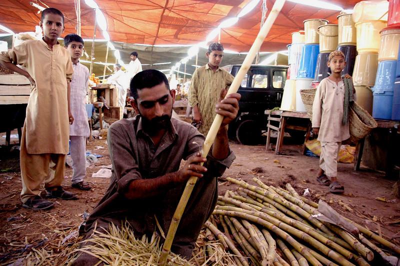 Peeling the sugar cane, Karachi, Pakistan<br /> scenes of daily life in markets and bazaars in Karachi<br /> (Credit Image: © Chris Kralik/KEYSTONE Press)
