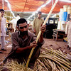 Peeling the sugar cane, Karachi, Pakistan<br /> scenes of daily life in markets and bazaars in Karachi<br /> (Credit Image: © Chris Kralik/KEYSTONE Press)