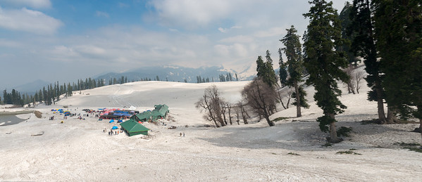 Panoramic view of the snow covered Gulmarg, Kashmir, J&K, India reached via gondolas.
