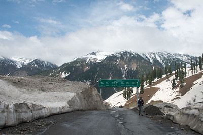 Sign boards on the Srinagar to Sonamarg on the Srinagar-Leh Highway, Kashmir, J&K, India.