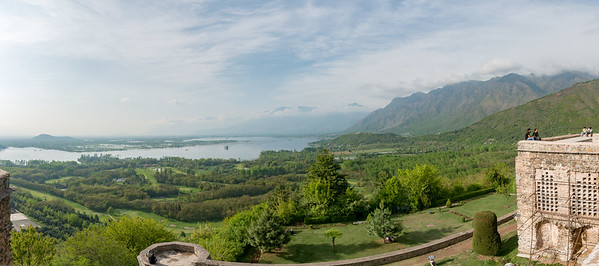 Panoramic view from Pari Mahal (Hindi: परी महल ) or The Angels' Abode. Pari Mahal is a seven terraced garden located at the top of Zabarwan mountain range over-looking city of Srinagar and south-west of Dal Lake.