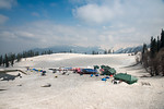 Lots of tourists at the snow covered Gulmarg, Kashmir, J&K, India.