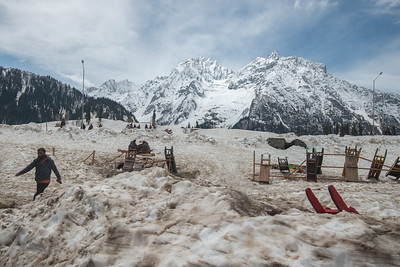 Sledging and snow mobile rides opposite Hotel Snow Land, Sonamarg on the banks of Sind river, Srinagar - Ladakh Highway, Forest Block, Jammu and Kashmir