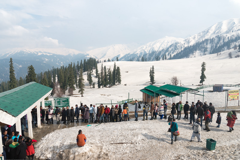 Long queues at the first level gondola in Gulmarg, Kashmir, J&K, India.