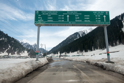 Signboard at Sonamarg, Srinagar-Leh Highway, Kashmir Valley, J&K, India.