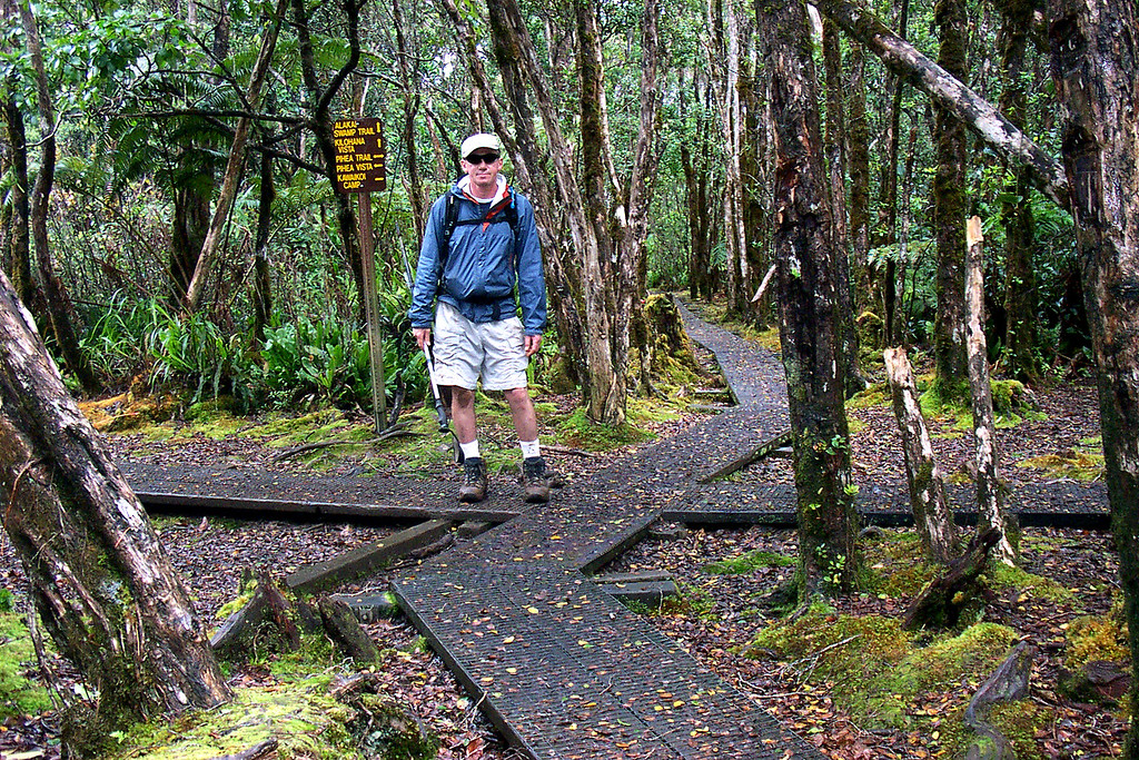 At the Pihea-Alakai junction. We took the Alakai Swamp Trail from here. We hiked in another 1/2 mile before turning around and heading back out. Photo by Helen
