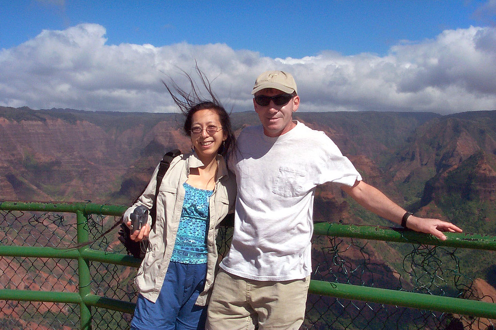 Helen and I at the Waimea Canyon Lookout. You can tell by Helen's hair that the wind is blowing hard here.