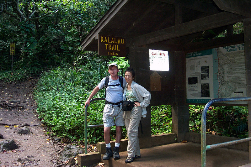 Helen and I at the Kalalau Trailhead. The plan is to hike two miles to Hanakapiai Beach, then two more miles up Hanakapiai Canyon to a waterfall.