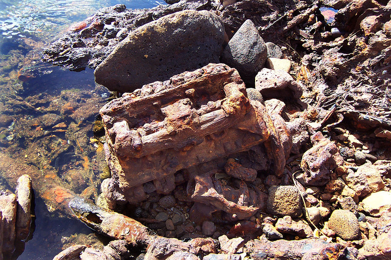 Most of the junk here were car motors. Some looked like they were melting onto the rocks.